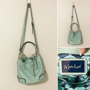 Moda Luxe Aqua Leather Bucket Crossbody Purse GUC